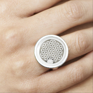 Flower Of Life / Blume des Lebens - silver punched Rings