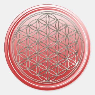Flower Of Life / Blume des Lebens - SILVER red Classic Round Sticker