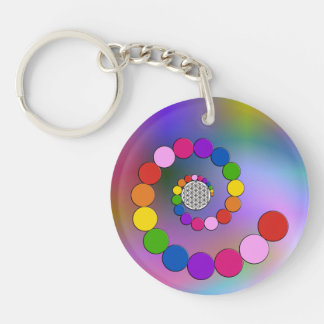 Flower of Life / Blume des Lebens - spiral dots Double-Sided Round Acrylic Keychain