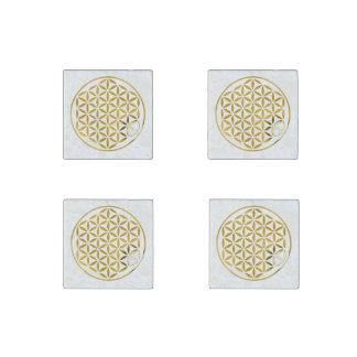 Flower Of Life / Blume des Lebens - stamp GOLD Stone Magnet