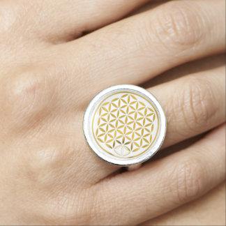 Flower Of Life / Blume des Lebens - stamp GOLD Photo Rings