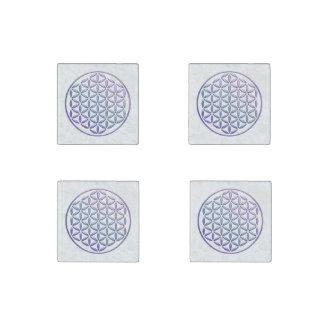 Flower Of Life / Blume des Lebens - stamp violet Stone Magnet