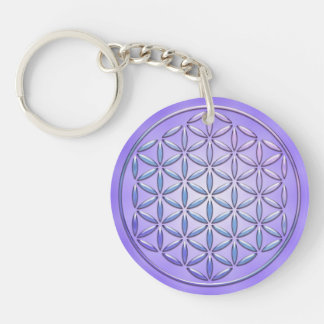 Flower of Life / Blume des Lebens - stamp violet Keychain