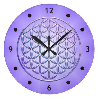 Flower of Life / Blume des Lebens - stamp violet Large Clock