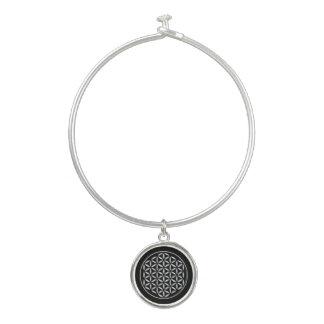 Flower Of Life / Blume des Lebens - stamp white Bangle Bracelet