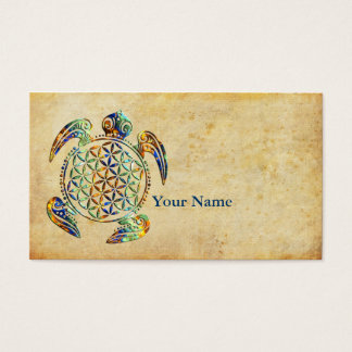Flower of Life / Blume des Lebens - turtle colored Business Card