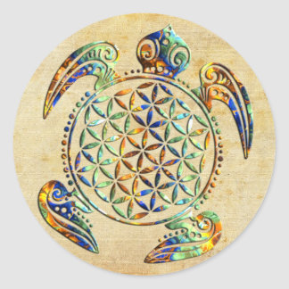 Flower of Life / Blume des Lebens - turtle colored Classic Round Sticker
