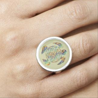 Flower of Life / Blume des Lebens - turtle colored Ring