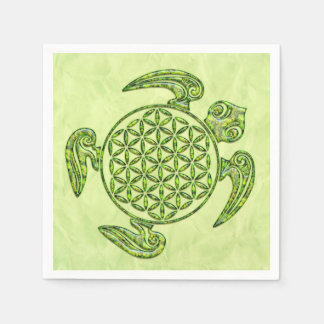 Flower Of Life / Blume des Lebens - turtle green Standard Cocktail Napkin