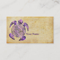 Flower of Life / Blume des Lebens - turtle purple Business Card