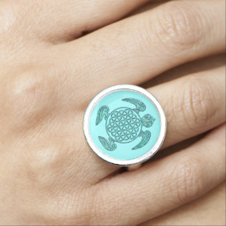 Flower of Life / Blume des Lebens turtle turquoise Rings