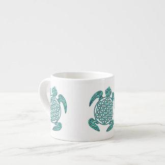 Flower of Life / Blume des Lebens turtle turquoise 6 Oz Ceramic Espresso Cup