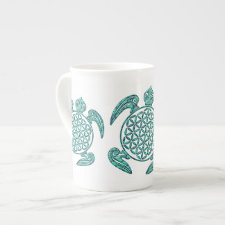 Flower of Life / Blume des Lebens turtle turquoise Tea Cup