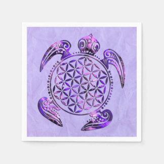 Flower Of Life / Blume des Lebens - turtle violet Standard Cocktail Napkin