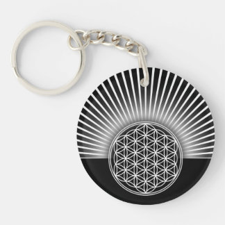 Flower of Life / Blume des Lebens - white flat Keychain