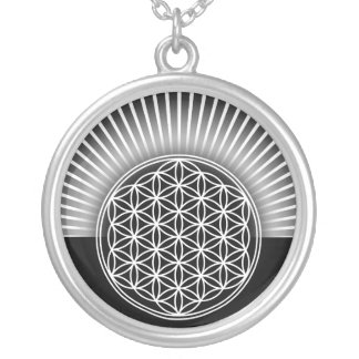 Flower of Life / Blume des Lebens - white flat Silver Plated Necklace