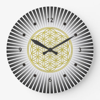Flower Of Life / Blume des Lebens - white rays Large Clock