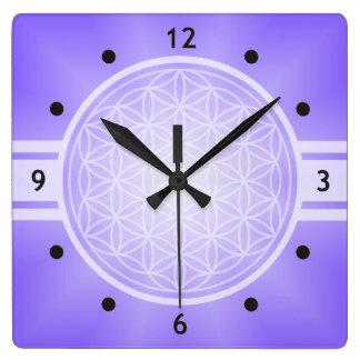 Flower of Life / Blume des Lebens - white transpa. Square Wall Clock