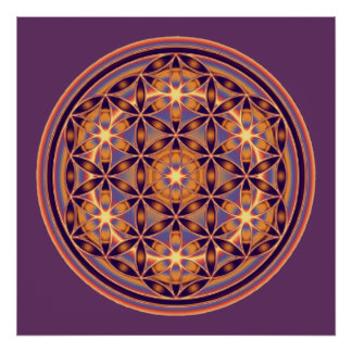 Flower Of Life - Button Style 02 Print