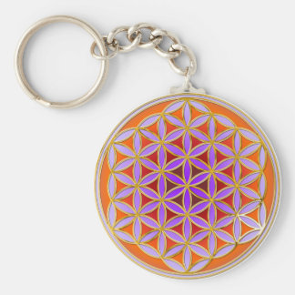 Flower Of Life - Button Style 04 Keychain