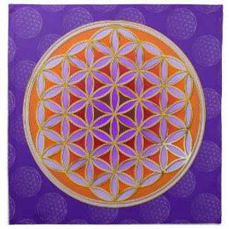 Flower Of Life - Button Style orange violet Cloth Napkin
