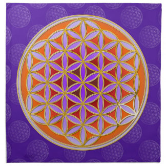 Flower Of Life - Button Style orange violet Cloth Napkins