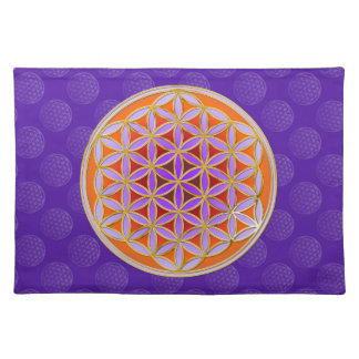 Flower Of Life - Button Style orange violet Placemat
