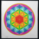 "Flower of Life Chakra10 Cloth Napkin<br><div class=""desc"">By meditating upon this Flower of Life symbol on the body it has been known to have powerful healing benefits, helps to dissolve fears, assists in connecting to the higher self, stronger self awareness and reveals the innate harmony in the template of all life. There are many spiritual beliefs associated...</div>"