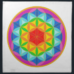 """Flower of Life Chakra10 Cloth Napkin<br><div class=""""desc"""">By meditating upon this Flower of Life symbol on the body it has been known to have powerful healing benefits, helps to dissolve fears, assists in connecting to the higher self, stronger self awareness and reveals the innate harmony in the template of all life. There are many spiritual beliefs associated...</div>"""