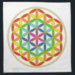 "Flower of Life Chakra Cloth Napkin<br><div class=""desc"">The seven Chakras are the energy centers in our body in which energy flows through. It is important to understand what each Chakra represents and what we can do to keep this energy flowing through our body. Blocked energy in our seven Chakras can often lead to illness so learning healing...</div>"