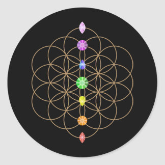 Flower of Life chakra colored  stones Classic Round Sticker
