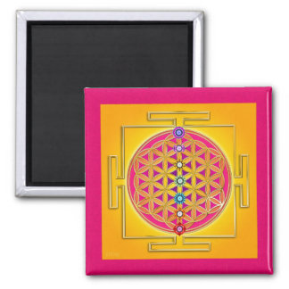 FLOWER OF LIFE - Chakras Yantra 2 Inch Square Magnet