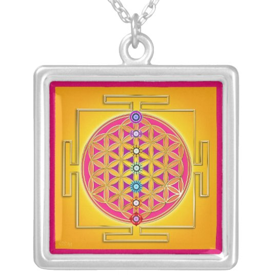 FLOWER OF LIFE - Chakras Yantra Silver Plated Necklace