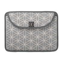 Flower of Life Cream on Grey Pattern MacBook Pro Sleeve