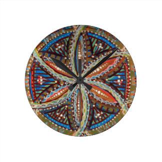 Flower of Life Earthy Tribal Mandala Round Clock