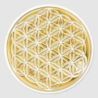 Flower Of Life / full gold Classic Round Sticker