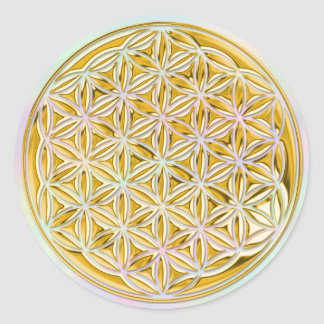 Flower Of Life / full gold | light coloured Classic Round Sticker