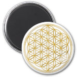 FLOWER OF LIFE - gold 2 Inch Round Magnet