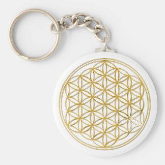 FLOWER OF LIFE - gold Basic Round Button Keychain