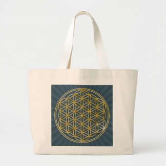 Flower OF Life | gold big/darg blue radially BG Jumbo Tote Bag