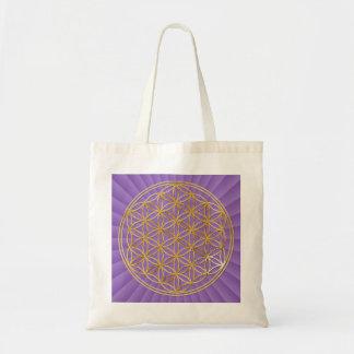 Flower OF Life | gold big/violet light BG Budget Tote Bag