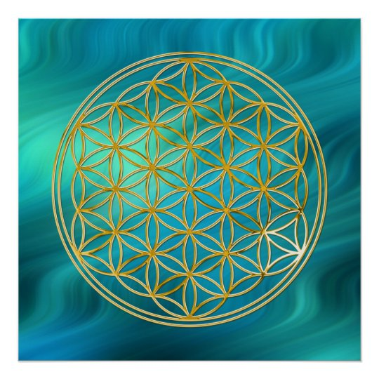Flower Of Life | gold, bluegreen waves Poster