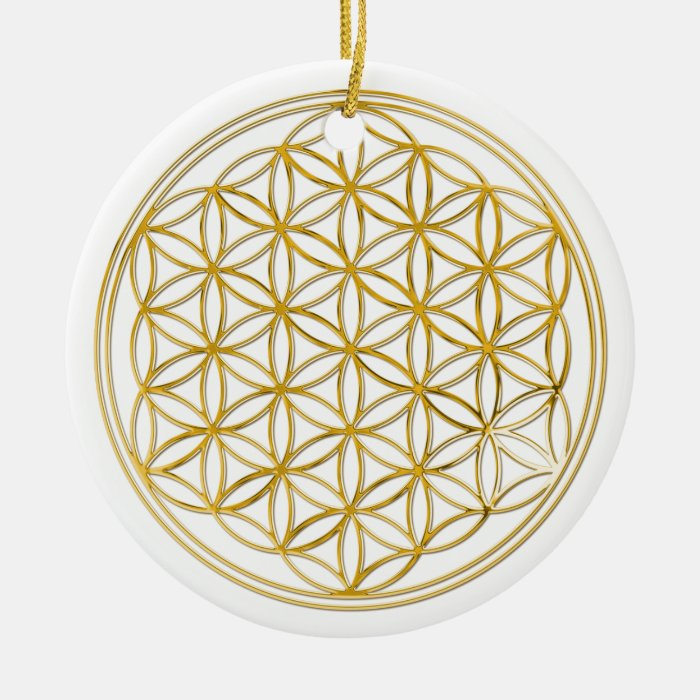 FLOWER OF LIFE - gold Ceramic Ornament