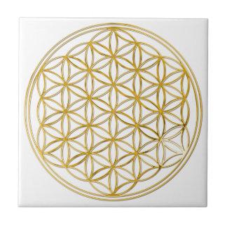 FLOWER OF LIFE - gold Ceramic Tile