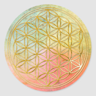 FLOWER OF LIFE - gold Classic Round Sticker