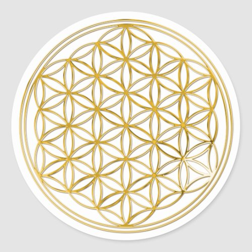 FLOWER OF LIFE _ gold Classic Round Sticker