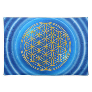 FLOWER OF LIFE - gold + energy of water Cloth Placemat