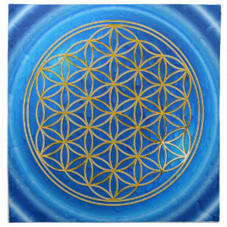 FLOWER OF LIFE - gold + energy of water Printed Napkins
