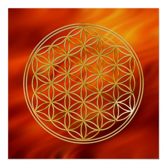 Flower Of Life | gold, fire red Poster