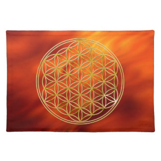 FLOWER OF LIFE - gold + firered waves Placemat